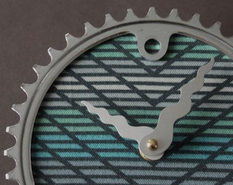 Bicycle Gear Clock - Chevron Stripe  |  Bike Clock  | Wall Clock | Recycled Bike Parts Clock
