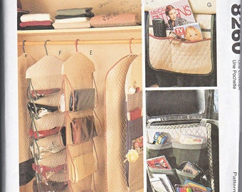 McCalls 8260 Closet Gift Wrap Garment Suit Bags Purse Shoe Bed Side Organizers Car Caddy Sewing Pattern Out of Print UNCUT