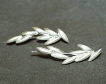 Long Rice Ear Climber/Crawler in Sterling Silver