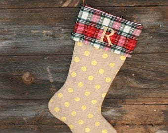 Rustic christmas stocking | Etsy