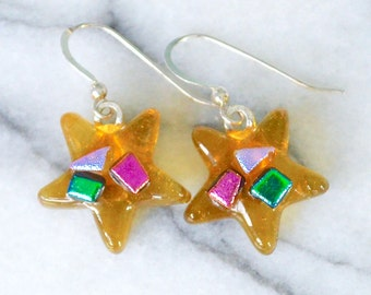 Glass Stars Drop Earrings Soft Golden Amber Fused Art with Colourful Metallic Dichroic Glass on 925 Sterling Silver Wires Gift Box