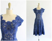 R E S E R V E D for Natasha | blue crochet dress | 1950s netted crochet ribbon dress | vtg 50s cobalt blue dress | small