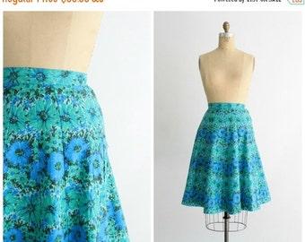 ON SALE 50s floral skirt | vintage 1950s blue & green paneled high waist skirt | 50s cotton skirt | xs