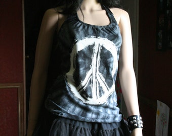 Hippie Hippy Tye Dye Peace tank top halter neck upcycled small medium large xlarge plus size