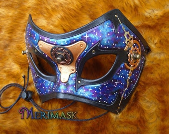READY TO SHIP Galaxy Time Bandit ... steampunk leather mask masquerade costume gothic Halloween Mardi gras burning man