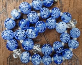 Vintage Blue White Speckled Glass Beads