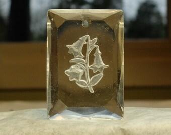 Vintage Glass Pendant West German Bell Flower Intaglio Jewelry Supply