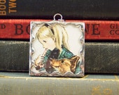 Tasha Tudor Pendant - Girl with Corgi Dog Eating Candy - Tasha Tudor Book Vintage Illustration - Corgi Dog Pendant - Tasha Tudor Jewelry
