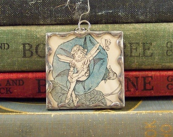 Fairy Pendant - Antique Illustration Book Pendant - Fantasy Charm - Soldered Glass Pendant - Fairy Necklace - Flower Fairy
