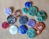 15 Handmade Ceramic Buttons - Winter Sale - Artisan focal buttons - one of a kind