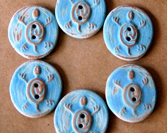 6 Handmade Stoneware Buttons - Ceramic Turtle Buttons in Rustic Sky Blue