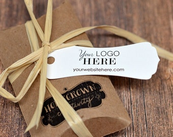 Long Ornate Cut Rectangles Custom Tags - Thank You Tags - Price Tags - Your Logo and Text - Flag Bunting Banner - Wedding