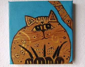 Srtiped Cat Acrylic Painting on canvas blue brown Gold
