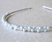 SAMPLE SALE Jeweled Headband Blue Pearl & Swarovski® Crystals Wedding Diadem Silver Frost Pearl Head Band Headpiece Medieval Bride Hairpiece