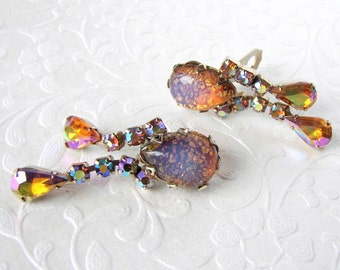 Fire Opal Glass Dangle Earrings Dragons Breath Amber Aurora Borealis AB Rhinestone Vintage Costume Jewelry Formal Wedding Pageant Ballroom