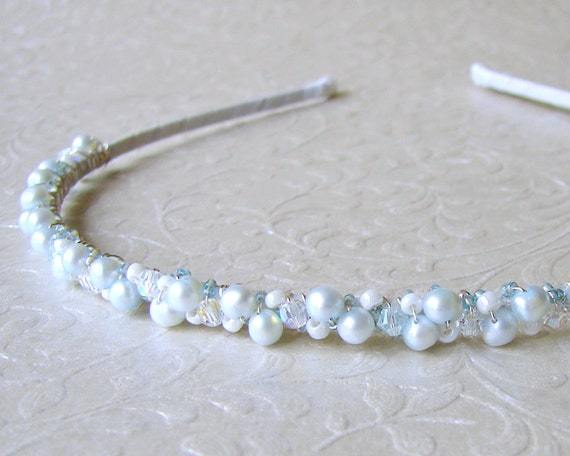 Jeweled Headband Blue Pearl & Swarovski® Crystals Wedding Diadem Silver Frost Pearl Head Band Renaissance Headpiece Medieval Bride Hairpiece