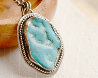 Arizona Turquoise Necklace, Silver Turquoise Necklace, Handmade Artisan Jewelry,American Turquoise Necklace, Kingman Mine Turquoise, Boho