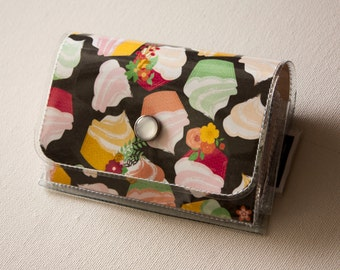 SALE Handmade Vinyl Accordion Wallet - You're Invited / small wallet, snap, cute wallet, coin purse, card, vinyl wallet, cupcakes, sweets