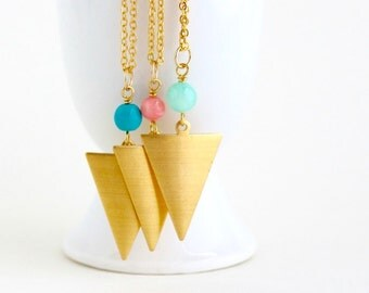 Geometric Necklace - Simple - Brass Triangular Necklace,Gold Plated Chain - Lightweight Necklace - Girlfriend Gift - Gift For Woman