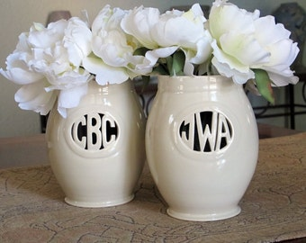 For your Bridesmaids - Custom monogrammed vase