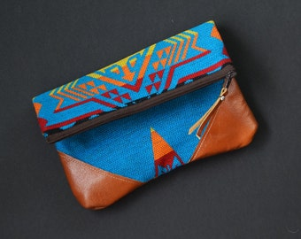 Fold-Over Clutch - Blue/Orange/Yellow/Red