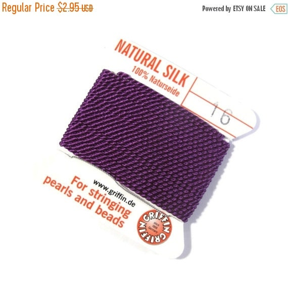 May SALE Size 16 : Dark Purple Cord, 100% Silk Cord with Built-In Stainless Steel Needle for Jewelry & Hand Knotting, 2 Yard Spool