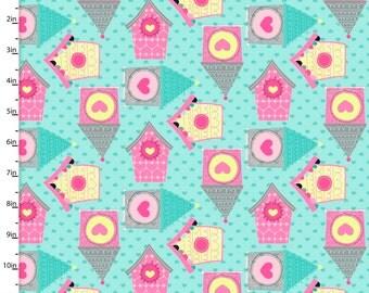 Owl School by 3 Wishes Fabrics,Owl bIrd Houses on Blue, yard