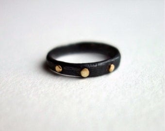 Black and Gold Dot Band - Handmade in Sterling and 14k Gold