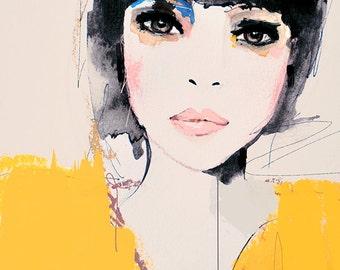 Citrine - Fashion Illustration Portrait Art Print