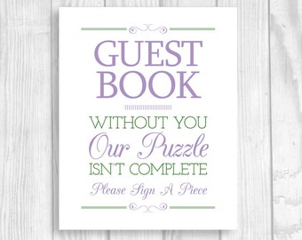 Custom Printable Please A Piece Puzzle Guestbook 8x10 Wedding Sign - Any Colors - Our Puzzle Isn't Complete - Alternative Guest Book