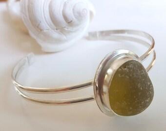 Yellow English Sea Glass Cuff Bracelet Sea Glass Jewelry B-223