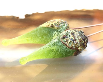 1 Pair or 3Pairs *Crusty Lime Green Raku* Headpins * Rustic Handmade lampwork glass headpins by Beadfairy Lampwork