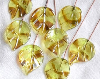 8 Golden Peridot Leaves Head Pins  Glass Headpins Handmade lampwork glass headpins by Beadfairy Lampwork