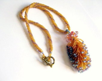 OOAK beadwoven necklace, loopy fringe & lampwork pendant on herringbone stitch rope