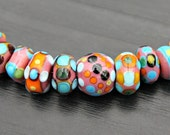 Reserved for Cubajul  Set of Handmade Artisan Lampwork Glass Beads in Pinks Turquoise Orange Lime