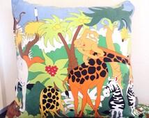 Animal Cushion Pillow Cover, Modern Kids Pillow, retro vintage kids, zoo pillow, Kids Bedroom Decor, animal nursery, 45x45cm