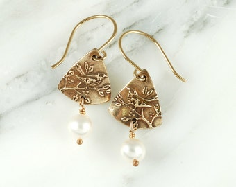 Wren Earrings - Bronze Bird Earrings with White Pearls and Gold Filled Wires