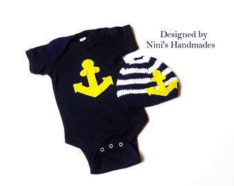 Knit Nautical Baby hat and baby bodysuit Set with Yellow Anchor, Made in the USA,  Newborn photography, Baby shower gift, childrens clothing