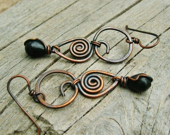 Hammered Copper and Blackstone drops wire wrap dangle earrings