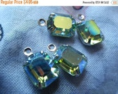 Swarovski Vintage Peridot AB 10x8mm Glass Octagon Silver Plated Drops 4 Pcs