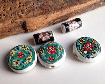 Ceramic Beads, Flower Beads, Destashed Beads, Etsy, Etsy Jewelry