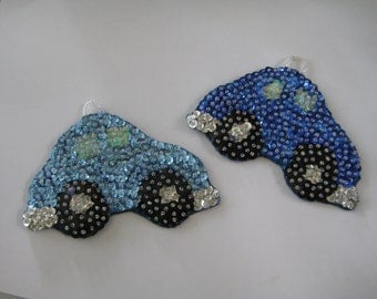 Ornament, Bug car ornament,Blue,Holiday,Old fashioned felt and sequin ornaments