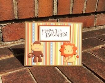 OOAK Happy Birthday 3D Monkey Lion Card