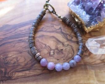 Purple Brown Bracelet - Boho Funky Coconut Jewelry - Bohemian Jewels - Gemstone Lilac - Simple Dainty Layering - Free Spirit Good Vibes