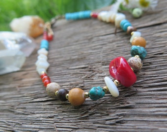 Earthy Bright Colorful Stone Anklet -Bohemian Vacation Beach - Boho Free Spirit Festival Jewelry -Southwestern Inspired - Red Turquoise