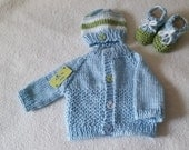 Hand knit set *Adriel* Sweater, hat and booties different sizes beautiful combination of colors