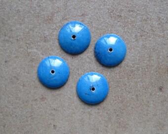 Enamel Bead Caps - Bead Caps - SueBeads - Sapphire Blue Round Bead Caps - Enameled Bead Caps