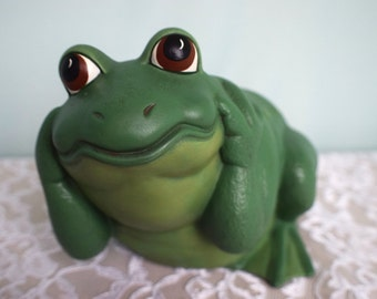 Hear No Evil Frog - Garden Frog - Ceramic Frog - Yard Art - Patio Decor - Garden Decor - Gardening Frog - Outdoor Frog - Cute Frog