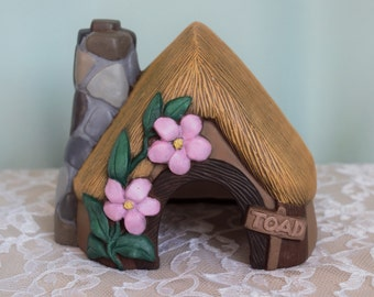 Ceramic Toad House - Hut - Toad Home - Fairy House - Flower House for Toad - Toad Sign - Magnolia House - Outdoor Decor - Toad Abode