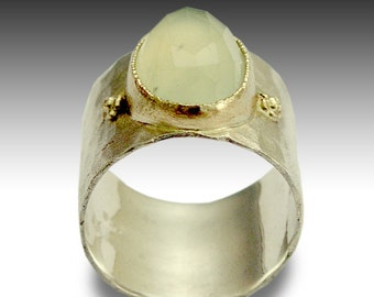 Silver Gold Ring, Jade Ring, Cocktail Stone Ring, Green Statement Silver Ring, Sterling Silver ring, Wide Jade Stone Band- Explore R1026P